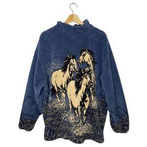 Vintage Fleece Deep Pile Running Wild Horses Blue